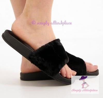 Faux Fur Platform Sliders - Stock Item