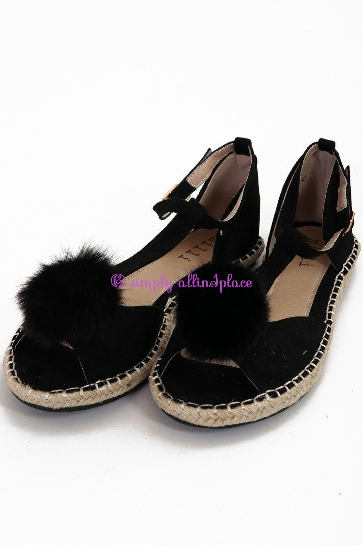 Faux Fur Pom Pom Strappy Peep Toe Sandals - Stock Item