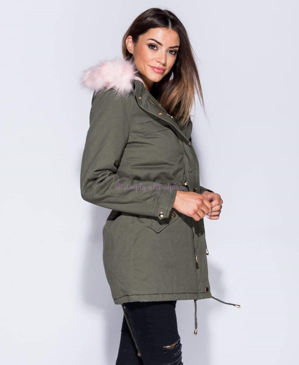 Khaki & Pink Faux Fur Trim Parka Jacket - Stock Item