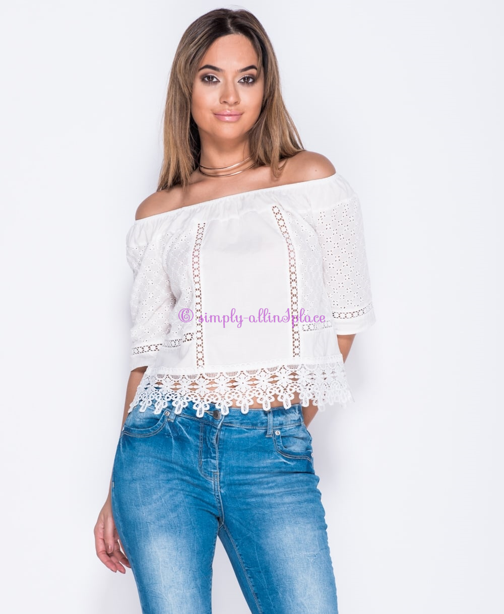 Crochet Lace Trim Short Sleeve Bardot Top - Stock Item