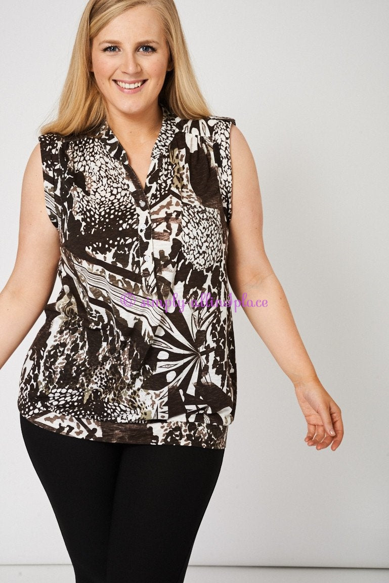 Button Front Sleeveless Top With Abstract Print (Stock)
