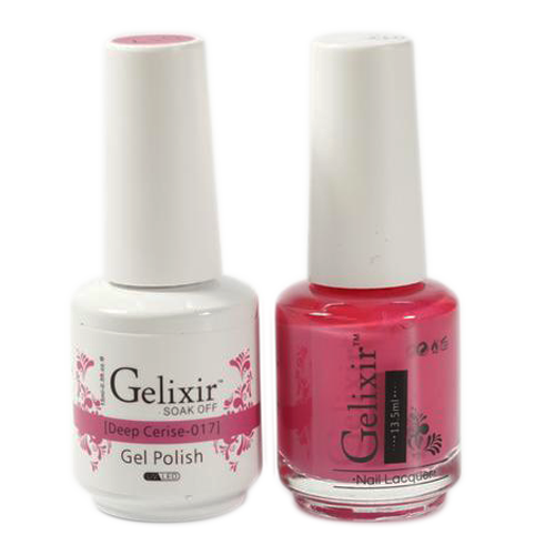 Gelixir Nail Lacquer And Gel Polish, 017, Deep Cerise, 0.5oz KK1010