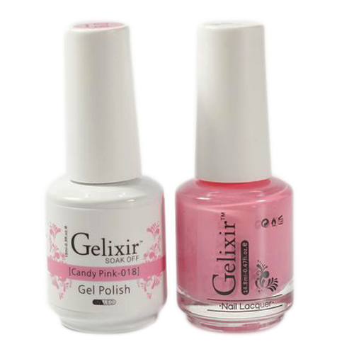 Gelixir Nail Lacquer And Gel Polish, 018, Candy Pink, 0.5oz KK1010
