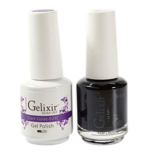 Gelixir Nail Lacquer And Gel Polish, 029, Dark Violet, 0.5oz KK1010