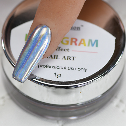 Cre8tion Chrome Nail Art Effect, 02 Silver Hologram B, 1g, 1101-0660