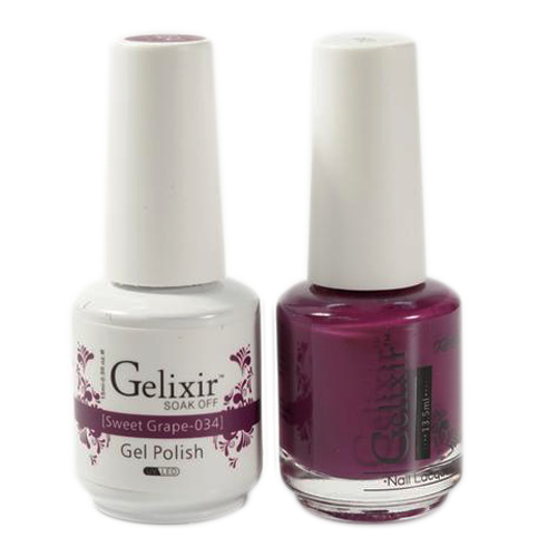 Gelixir Nail Lacquer And Gel Polish, 034, Sweet Grape, 0.5oz KK1010