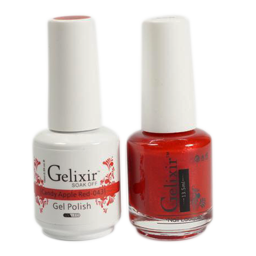 Gelixir Nail Lacquer And Gel Polish, 043, Candy Apple Red, 0.5oz KK1010