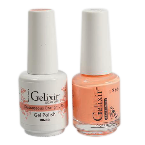 Gelixir Nail Lacquer And Gel Polish, 055, Outrageous Orange, 0.5oz KK1010