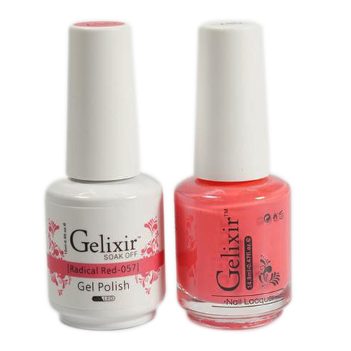 Gelixir Nail Lacquer And Gel Polish, 057, Radical Red, 0.5oz KK1010
