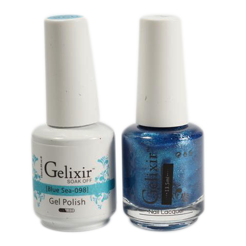 Gelixir Nail Lacquer And Gel Polish, 098, Blue Sea, 0.5oz KK1010