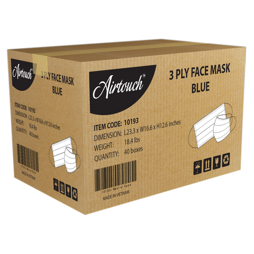 Airtouch 3 Ply Face Mask CASE, Blue, 40 boxes/case KK0208