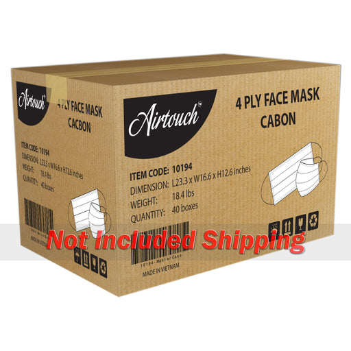 Airtouch 4 Ply Face Mask CASE, Carbon, 40 boxes/case