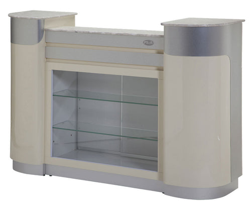 SPA Reception Desk, Beige/Aluminum, C-108BA (NOT Included Shipping Charge)