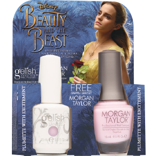 Gelish Gel Polish & Morgan Taylor Nail Lacquer, 1110249, Beauty And The Beast Collection, Plumette with Excitement, 0.5oz BB KK