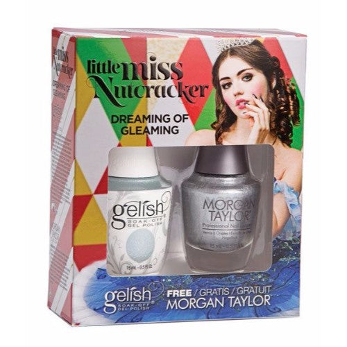 Gelish Gel Polish & Morgan Taylor Nail Lacquer, 1110278, Little Miss Nutcracker Collection, Dreaming of Gleaming, 0.5oz BB KK