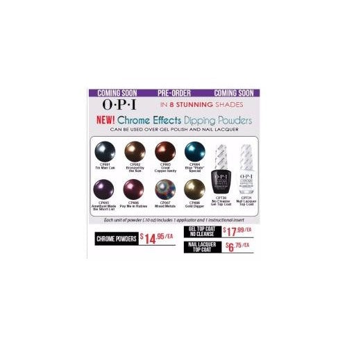 OPI Chrome Effects Dipping Powder, 0.1oz, Full line of 8 colors KK