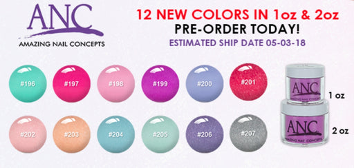 ANC Dipping Powder, 12 New Colors (from 2OP196 to 2OP207), 2oz