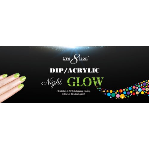 Cre8tion  Glow In The Night Dipping Powder, Tips Sample KK