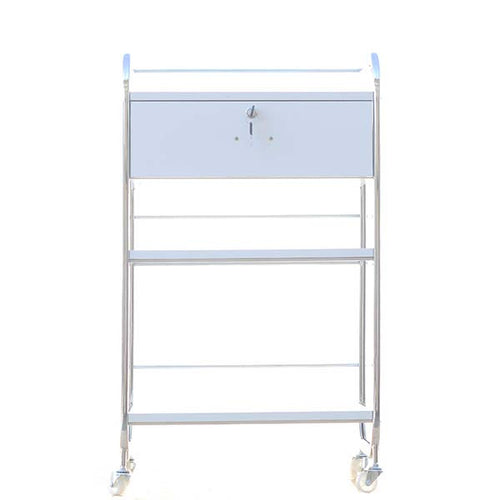 Cre8tion White Beauty Trolley, 1 Drawer, 29025 BB (NOT Included Shipping Charge)