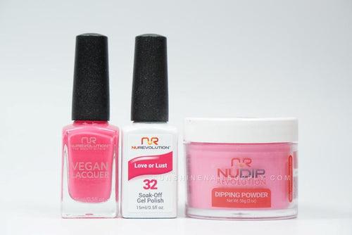 NuRevolution 3in1 Dipping Powder + Gel Polish + Nail Lacquer, 2oz, Love or Lust KK