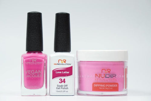 NuRevolution 3in1 Dipping Powder + Gel Polish + Nail Lacquer, 2oz, Love Letter KK
