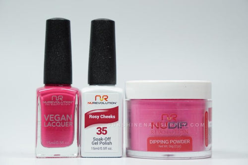 NuRevolution 3in1 Dipping Powder + Gel Polish + Nail Lacquer, 2oz, Rosy Cheeks KK