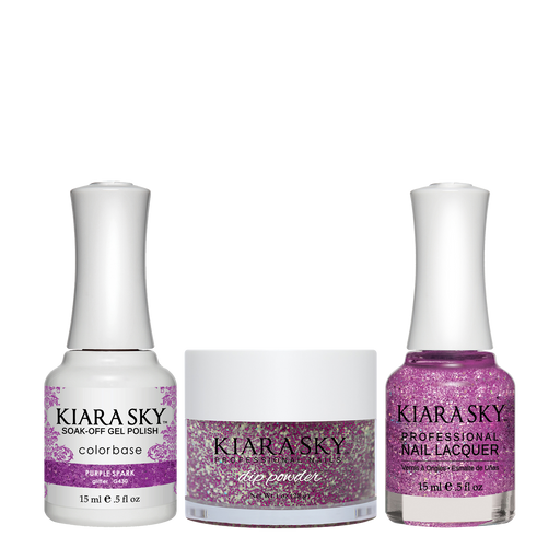 Kiara Sky 3in1 Dipping Powder + Gel Polish + Nail Lacquer, DGL 430, Purple Spark