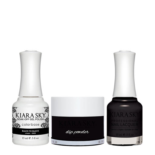 Kiara Sky 3in1 Dipping Powder + Gel Polish + Nail Lacquer, DGL 435, Black To Black