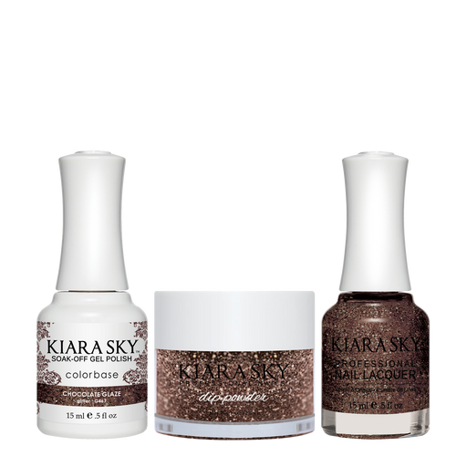 Kiara Sky 3in1 Dipping Powder + Gel Polish + Nail Lacquer, DGL 467, Chocolate Glaze