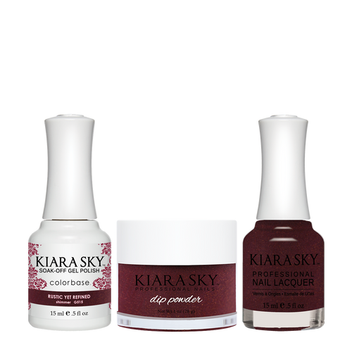 Kiara Sky 3in1 Dipping Powder + Gel Polish + Nail Lacquer, DGL 515, Rustic Yet Refined