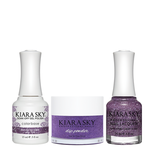 Kiara Sky 3in1 Dipping Powder + Gel Polish + Nail Lacquer, DGL 520, Out On The Town