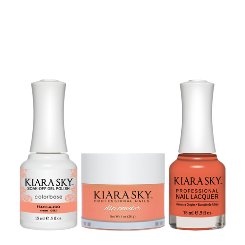 Kiara Sky 3in1 Dipping Powder + Gel Polish + Nail Lacquer, DGL562, 1oz, Peach A Roo