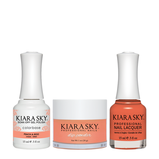 Kiara Sky 3in1 Dipping Powder + Gel Polish + Nail Lacquer, DGL 562, Peach A Roo
