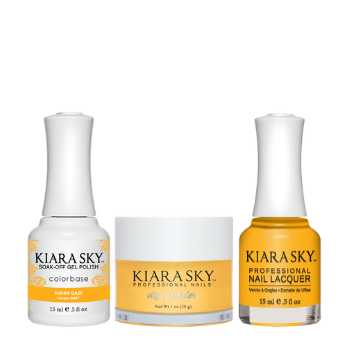 Kiara Sky 3in1 Dipping Powder + Gel Polish + Nail Lacquer, Road Trip Collection, DGL 587, Sunny Daze