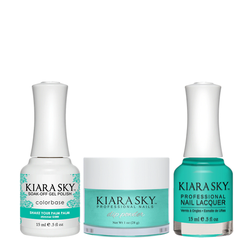 Kiara Sky 3in1 Dipping Powder + Gel Polish + Nail Lacquer, Road Trip Collection, DGL 588, Shake Your Palm Palm
