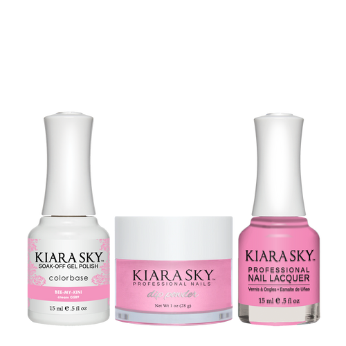 Kiara Sky 3in1 Dipping Powder + Gel Polish + Nail Lacquer, Road Trip Collection, DGL 589, Bee-My-Kini