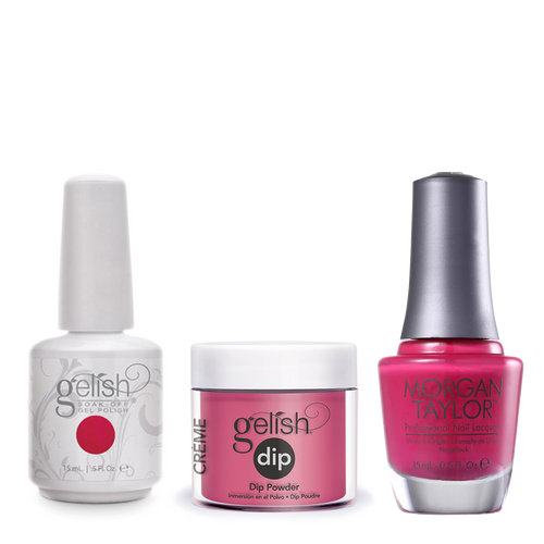 Gelish 3in1 Dipping Powder + Gel Polish + Nail Lacquer, All Dahlia-ed Up, 022/887D