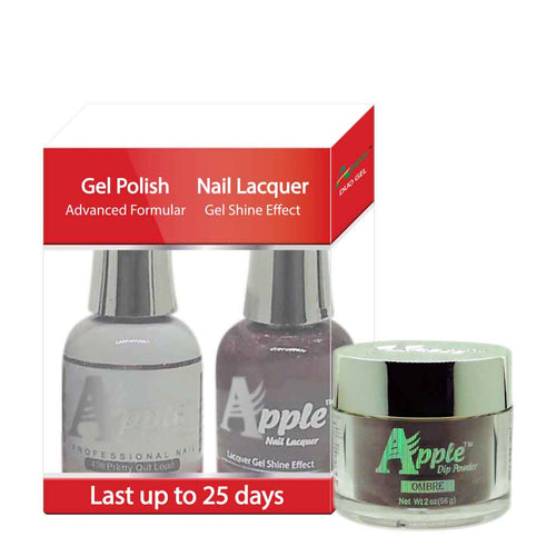 Apple 3in1 Dipping Powder + Gel Polish + Nail Lacquer, 436, Pretty Out Loud, 2oz