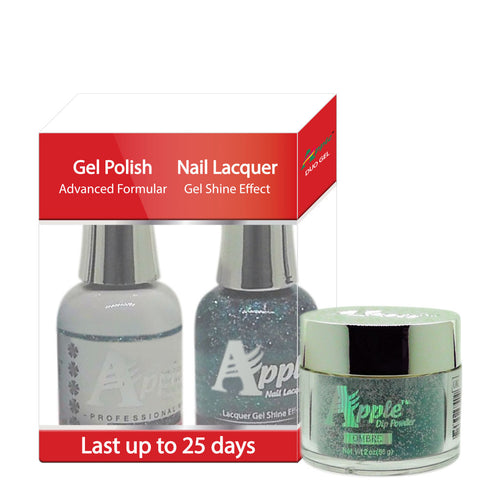 Apple 3in1 Dipping Powder + Gel Polish + Nail Lacquer, 445, Atlantic Sky, 2oz