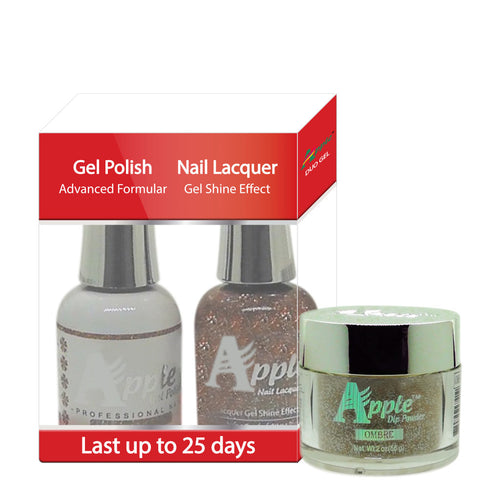 Apple 3in1 Dipping Powder + Gel Polish + Nail Lacquer, 449, Bronze At A Time, 2oz