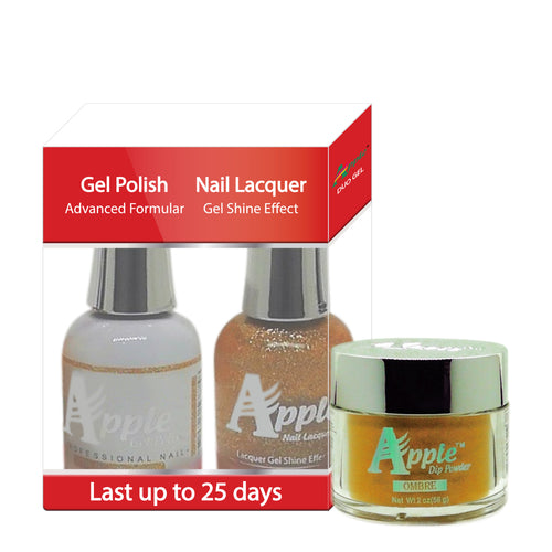 Apple 3in1 Dipping Powder + Gel Polish + Nail Lacquer, 496, He We Gold, 2oz