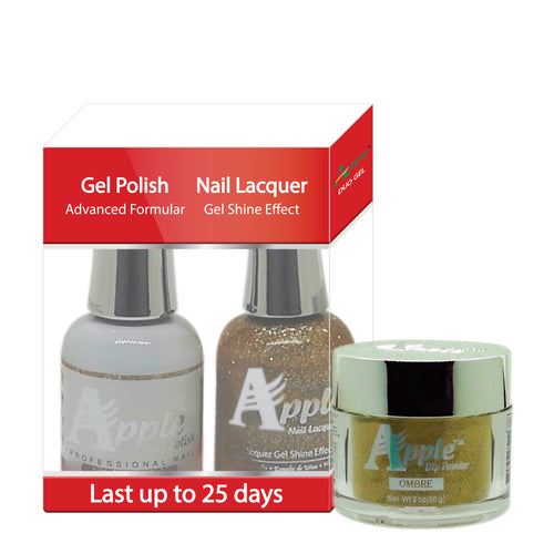 Apple 3in1 Dipping Powder + Gel Polish + Nail Lacquer, 497, Emerald Sand, 2oz