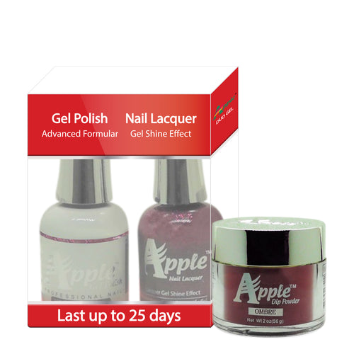Apple 3in1 Dipping Powder + Gel Polish + Nail Lacquer, 508, Electric Chrome, 2oz