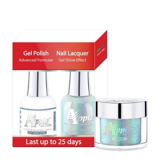 Apple 3in1 Dipping Powder + Gel Polish + Nail Lacquer, 5G Collection, 403, Alaskan Snake KK0920
