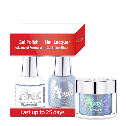 Apple 3in1 Dipping Powder + Gel Polish + Nail Lacquer, 5G Collection, 412, Over Sea KK0920