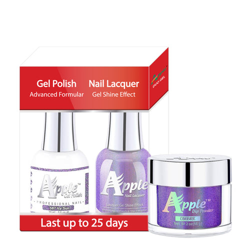 Apple 3in1 Dipping Powder + Gel Polish + Nail Lacquer, 5G Collection, 587, Icy Sun KK0920