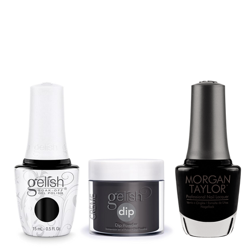 Gelish 3in1 Dipping Powder + Gel Polish + Nail Lacquer, Black Shadow, 830