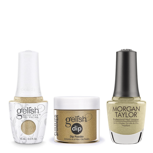 Gelish 3in1 Dipping Powder + Gel Polish + Nail Lacquer, Give Me Gold, 075