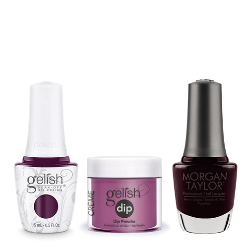 Gelish 3in1 Dipping Powder + Gel Polish + Nail Lacquer, 0.8oz, Plum And Done
