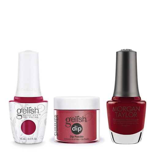 Gelish 3in1 Dipping Powder + Gel Polish + Nail Lacquer, 0.8oz, Ruby Two-Shoes